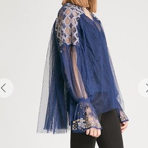 FREE PEOPLE Joyride embroidered-detail tulle top